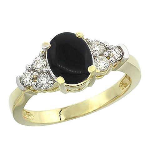Bague Or jaune 14carats naturel Onyx Noir ovale 9x 7mm avec accents de diamant, Taille J–T