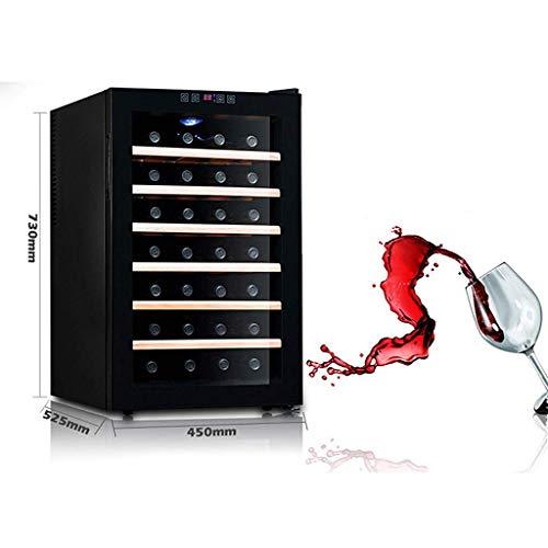 AG Car Fridge-28 Bottlesthermoelectric Wine Cooler - Rot- und Weißweinkühler - Aufsatz-Weinkeller - Freistehender Kühlschrank mit LCD-Display und digitaler Touch-Steuerung,Holzregal