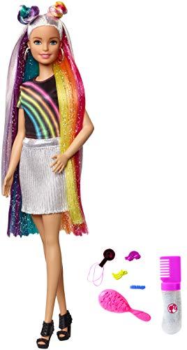 Barbie FXN96 - Regenbogen Glitzerhaar Puppe mit bunten 19 cm langen Haaren und Zubehör, Puppen Spielzeug ab 3 Jahren (Barbie-wasser-spiel-puppe)