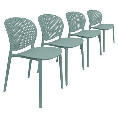 Chair FurnitureTM Pack de 4 sillas de jardín, diseño moderno, Surf ...