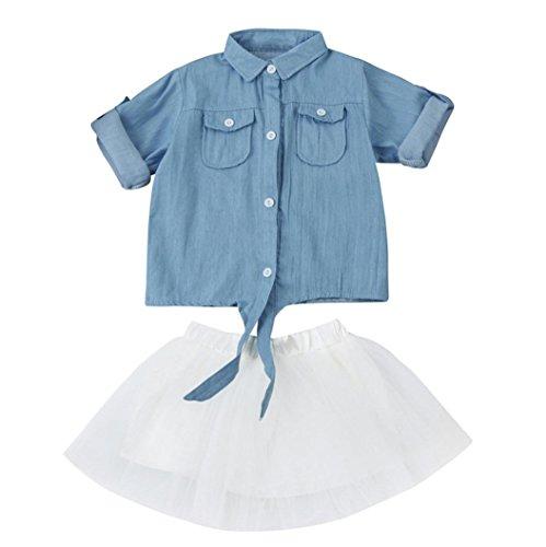 Amlaiworld Baby Mädchen Denim langarm Bluse+ tutu mode Kleinkind kleider kleidung,0-36Monate (18 Monate, Blau)