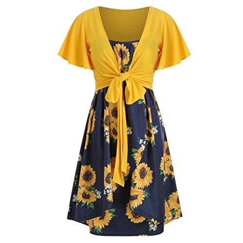 IMJONO Vintage Retro Kleid,2019 Mode Frauen Kurzarm Bow Knot Bandage Top Sunflower Print Kleid Anzüge(Gelb,X-Large) Print Jersey Knot Dress