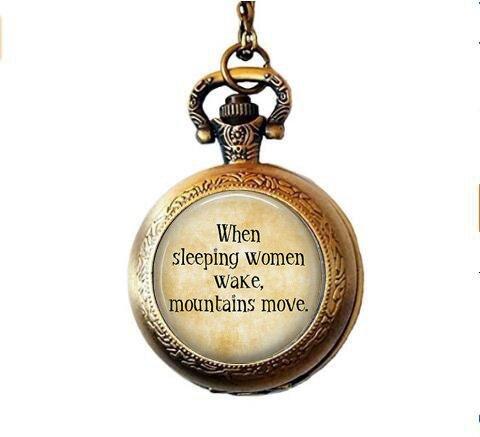 BAB Feminist Cita – Cuando Duerme Las Mujeres Despertar, montañismo – Feminismo – joyería Feminista – Derechos de Las Mujeres – Feminismo Reloj de Bolsillo Collar