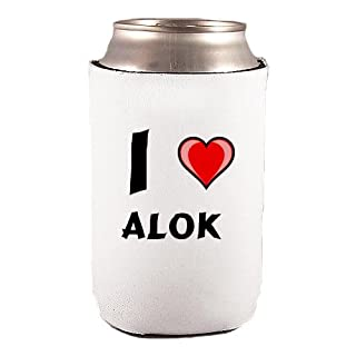 Custom Beverage Can / Bottle Cover (Coolie) with I Love Alok (first name/surname/nickname)
