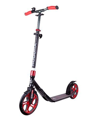 HUDORA Scooter Roller CLVR 250, Tret-Roller, Kickboard, Klapproller, Schwarz/Rot, 14831