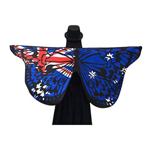 ty Kleider Weiches Gewebe Schmetterlingsflügel Schal Fee Damen Nymph Pixie Kostüm Zubehör(Blau,Free) ()