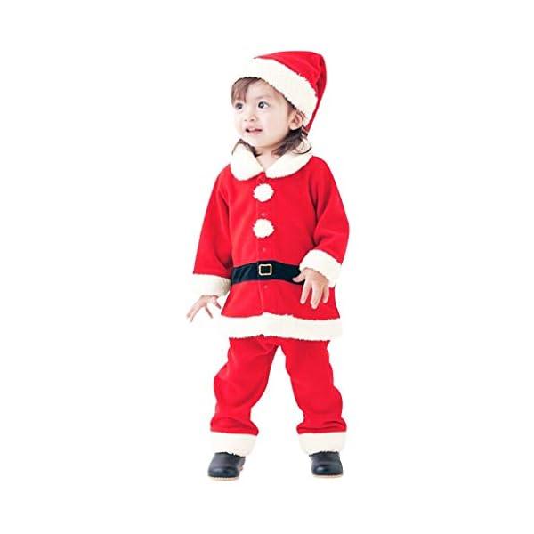 Navidad POLP Bebé Cosplay Tops Pantalones y Sombrero Cinturón Disfraz Conjuntos de 4 Piezas Rojo Verde Trajes Niñas… 1