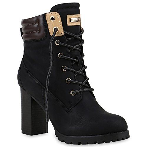 Damen Schnürstiefeletten Stiefeletten Worker Boots Wildleder-OptikHalbhohe Stiefel Schnürer Wildleder-Optik Schuhe 122662 Schwarz 39 Flandell