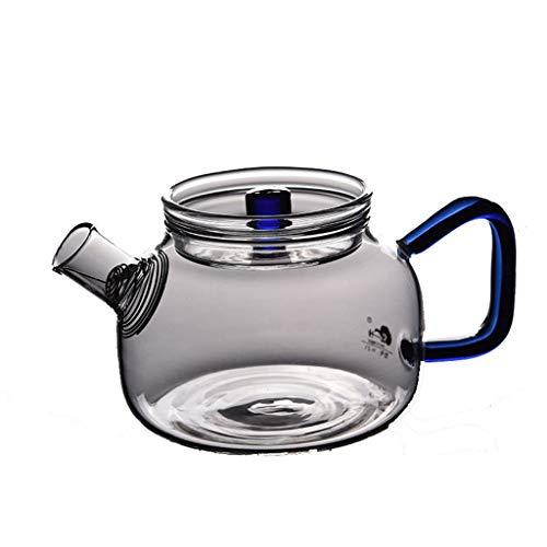 CHAHU Verdickte Glasteekanne mit Filter hitzebeständige Teekanne Vollglas Tee-Set gekochte Teekanne Seite kleine Blume Teekanne (Color : Blue) -