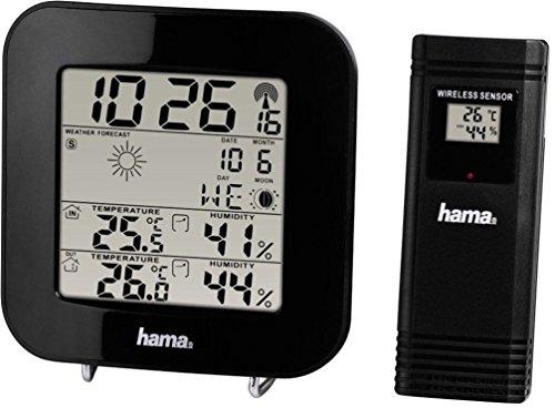 Hama Funk Wetterstation EWS-200 (Funkuhr, Wecker, Thermometer, Mondphasenanzeige und Wettervorhersage, inkl. Außensensor mit 30m Reichweite) schwarz