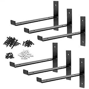 "DILNAZ ART 6 Packs T Shelf Bracket Heavy Duty Industrial Farmhouse Steel Metal Wall Floating Brace Support with Lip for DIY Open Shelving 10"" L x 6"" H Thickness 4mm Max.Load 130lb"