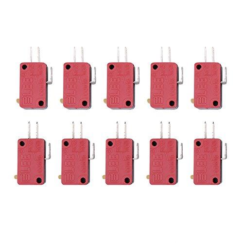 10 Stück Rot 3 Pins Push Button Micro Endschalter Ersatz für Arcade Spiel (Ersatz-endschalter)