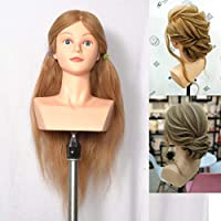 """Competition Manikin 100% Human Hair, Natural 22"""" Blonde Hair and Natural Neck. Perfect for competitions.Shoulder Training Mannequin Head"""