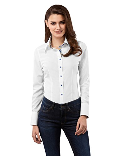 Vincenzo Boretti Women's Blouse Modern-fit 100% Cotton Non-Iron Kent Collar Long-Sleeve Plain Colour Nice Elegant Ladies Fashion Design for Office Work, Formal and Casual Events