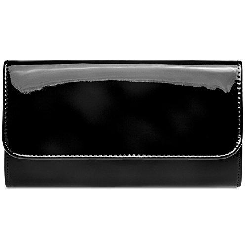 CASPAR TA431 elegante Damen Metallic Lack Clutch Tasche Abendtasche mit langer Kette, Farbe:schwarz, Größe:One Size