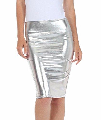 Fast Fashion Frauen Hoch Taille Nasses Aussehen PVC Leder Glänzend Metallisch Flüssigkeit Bleistift Midi Rock (Rock Hohe Taille Bleistift)