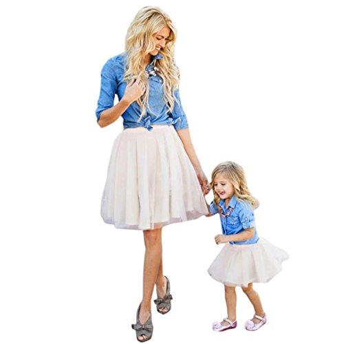 Mutter und Tochter Kleid, Oyedens Partnerlook Familie T Shirt Tops + Rock Kleid Strandkleid Summer Dress Freizeitkleid Mädchen Kleider Damen Baby Outfit Mädchen Matching Familien Kleidung (90, weiß)