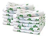 12er Pack zum Sparpreis - Mullwindeln für Babys & Kleinkinder - bedruckt mit kleinen Drachen im Alloverdesign auf weißem Grund - Einheitsgröße ca. 70 x 70 cm - vielseitig verwendbar