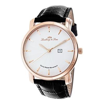 Lindberg & Sons LS15SA4 - Reloj de pulsera con fecha analogico para hombre, calibre suizo, con correa de cuero negro de Lindberg&Sons