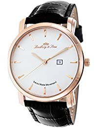 Lindberg & Sons LS15SA4 - Reloj de pulsera con fecha analogico para hombre, calibre suizo, con correa de cuero negro