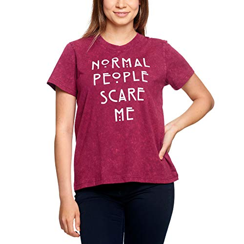 Elbenwald American Horror Story Damen T-Shirt Normal People Scare Me Baumwolle rot - L
