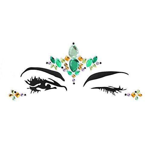(CWeep Women Mermaid Face Gems 3D Rhinestone Colorful Sticker Tattoo Jewelry Stick on Face Festival Rainbow Tears Stickers Rhinestone (Green))