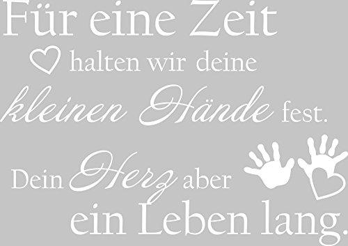GRAZDesign Wandtattoo für Kinderzimmer - Geschenk zur Geburt - Spruch Für eine Zeit halten wir Deine kleinen Hände / 57x40cm / 730203_40_010
