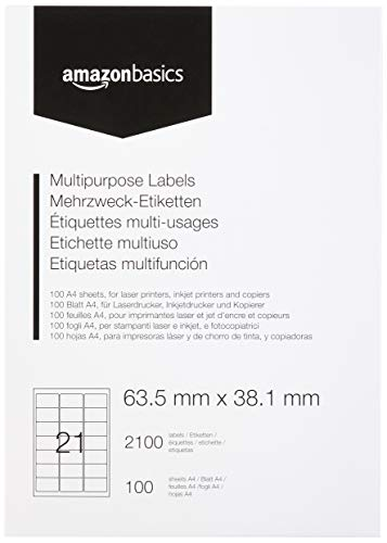 Amazonbasics - etichette multiuso, 63.5mm x 38.1mm, 100 fogli, 21 etichette per foglio, 2100 etichette