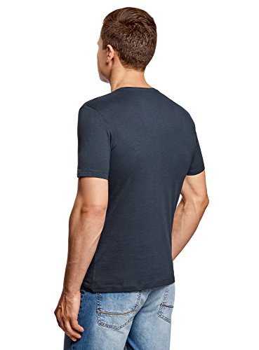 oodji Ultra Herren Tagless Baumwoll-T-Shirt mit Druck Blau (7912P) ...