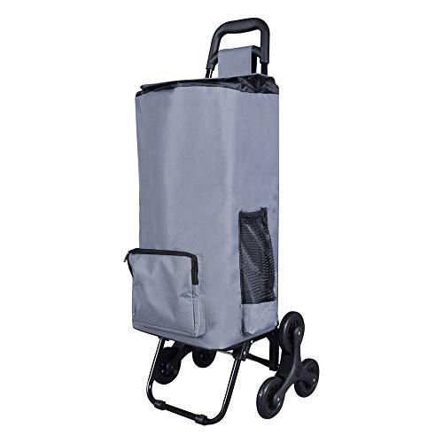 LOMOS Robusto carro de la compra plegable con función de subida de escaleras en gris, para jóvenes y mayores