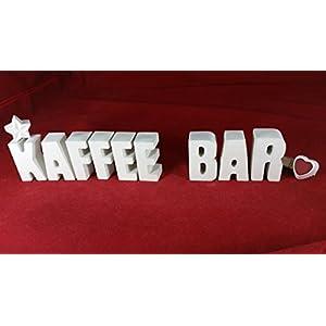 Beton, Steinguss Buchstaben 3 D Deko Schriftzug Namen KAFFEE BAR als Geschenk verpackt!