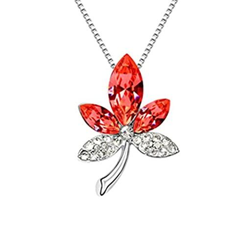 KnSam Women Alloy Pendant Necklaces Maple Leaf Shape Red [Novelty Necklaces]