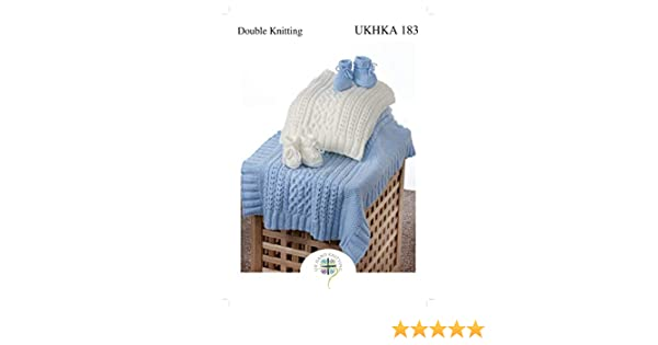 not finished items UKHKA 183 DK KNITTING PATTERN Cable Blanket /& Bootees