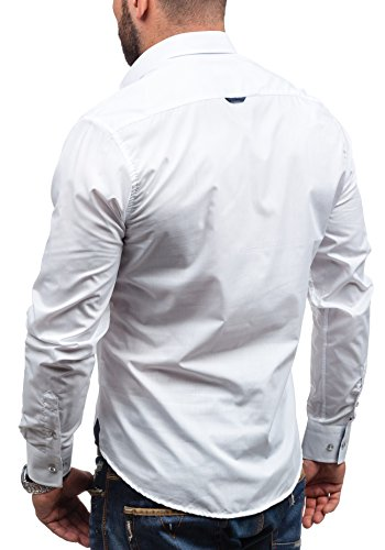 BOLF - Chemise casual - à manches longues – BOLF 5791 - Homme Blanc