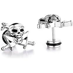 Pendientes de acero inoxidable con calavera pirata