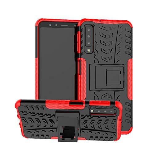 betterfon | Outdoor Handy Tasche Hybrid Case Schutz Hülle Panzer TPU Silikon Hard Cover Bumper für Samsung Galaxy A7 2018 SM-A750 Rot Hybrid Case Rot