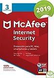 McAfee Internet Security 2019 - Antivirus, PC/Mac/Android/Smartphones, 3 Dispositivos, Suscripción de 1 año Código de activación por correo
