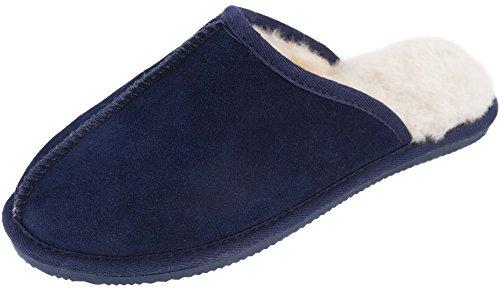 Lambland Homme/Homme En Véritable Peau de Mouton Chaussons Mules avec semelle durable et d'épaisseur Peau de Mouton Bleu - Bleu marine