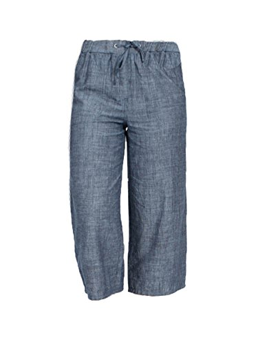 Marks and Spencer Ex Denim Blue Cotton Linen Blend Lightweight Cropped Trouser (Slight Flaws)