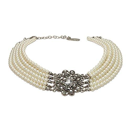 Alpenflüstern Perlen-Kropfkette Elvira - nostalgische Trachtenkette, eleganter Damen-Trachtenschmuck, Dirndlkette creme-weiß DHK201