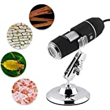 VTechCom Laboratory Real Diy USB Microscope Camera with Stand Mini 8 LED Light Magnifier Digital Endoscope Zoom 800X Electronic Kit