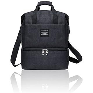 Aspen Sport Lunch-Tasche, 10L Isolierte Essenstasche Picknicktasche,Wasserdichte Mittagessen Tasche für Kinder und Erwachsene, Schwarz