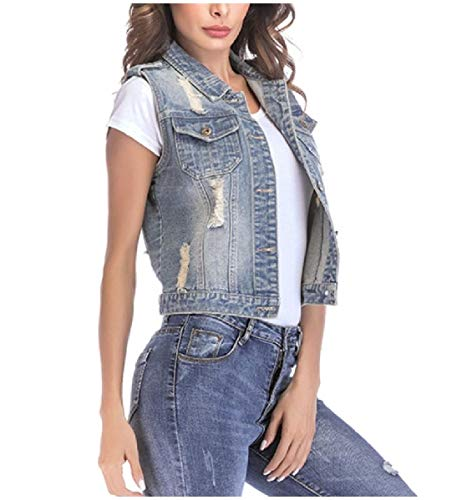 CuteRose Women's Pocket Waistcoat Vests Destroyed Denim Trucker Jacket Light Blue L - Outdoor Research-womens Vest