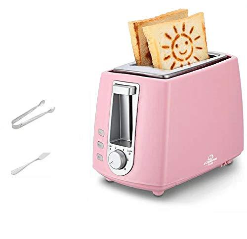 JINRU 2 Scheiben, Retro Kleiner Toaster mit Bagel, Abbrechen, Auftaufunktion, Extra breiter Steckplatz Kompakte Edelstahl-Toaster für Brotwaffeln,Pink