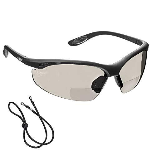 voltX 'Constructor' BIFOKALE Schutzbrille mit Lesehilfe (Verspiegelte +2.0 Dioptrie) CE EN166F Zertifiziert/Sportbrille für Radler enthält Sicherheitsband - Bifocal Safety Glasses