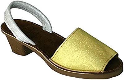 15010G - Sandalia ibicenca glitter con tacón amarillo