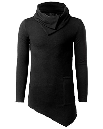 Jolime maglione collo alto magliette manica lunga long felpa asimmetrico hip hop t-shirt uomo negro eu 3xl=tag 4xl