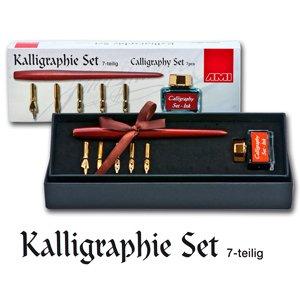 Künstlerbedarf - Set calligrafia in 7 pezzi: 5 pennini calligrafici di diverse misure, cannuccia, inchiostro nero
