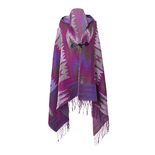 Amphia - Damen Umhang Mantel,Frauen-Stich-Wolle-geometrische Muster Druckten Schal-Ansatz-Schal-Kappe mit Haube (Poncho Daryl Dixon)