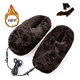 Healifty Fußwärmer Hausschuhe Winterschuhe USB Plüsch Schuhe (Kaffee) - 5